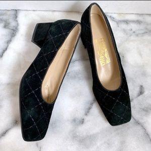 Ferragamo Black Suede Quilted Block Heel Pumps